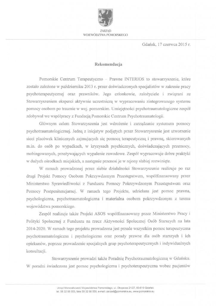 Rekomendacja Samorządu Województwa Pomorskiego str.1