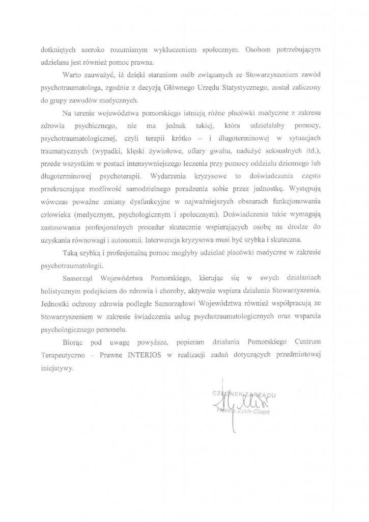 Rekomendacja Samorządu Województwa Pomorskiego str.2
