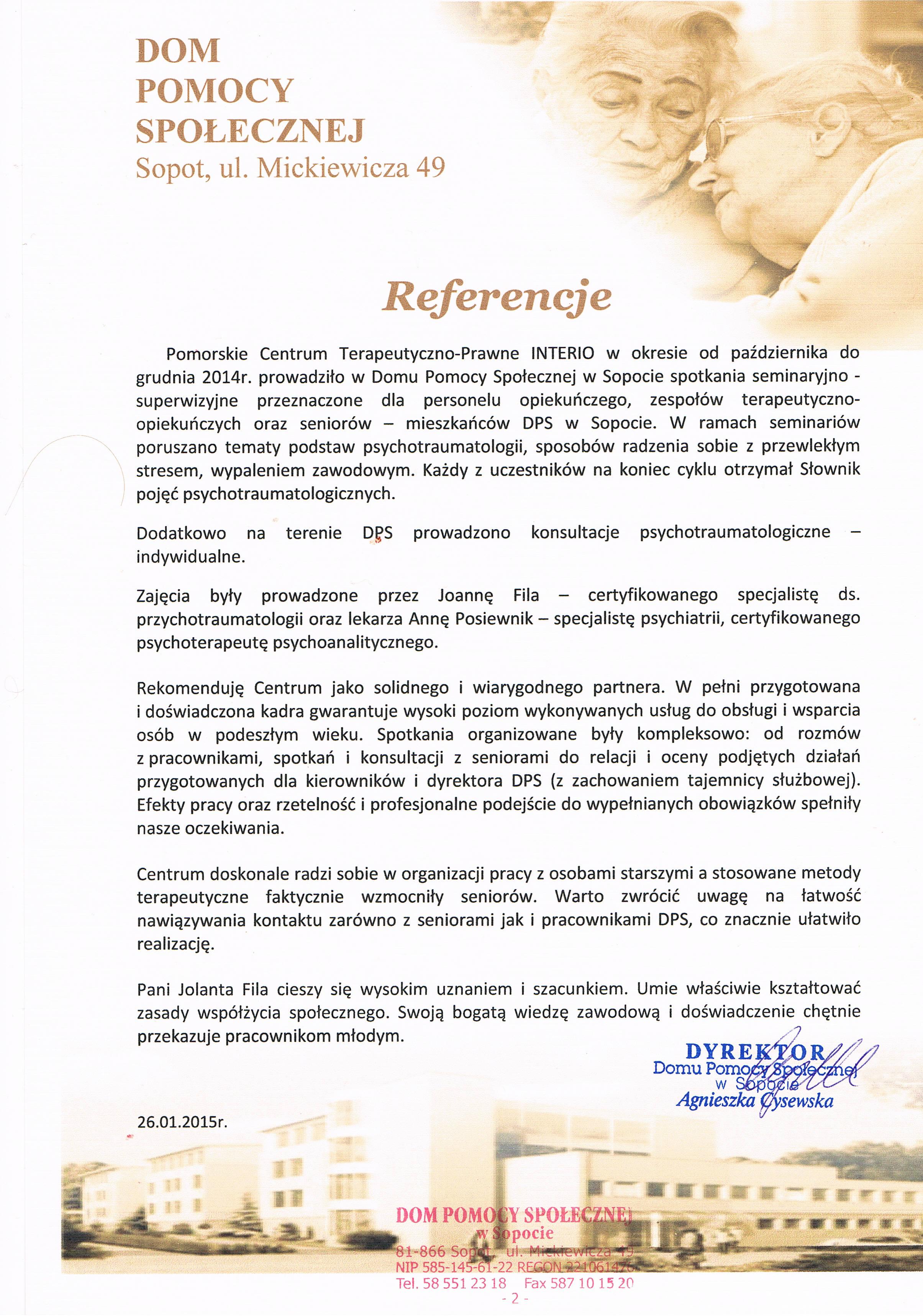 Dom Pomocy Społecznej w Sopocie-rekomendacja